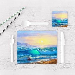 Individuales De Mesa Modernos para Comedor Pintura Mar Y Olas 10