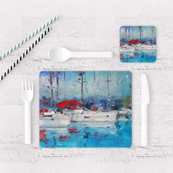 Individuales De Mesa Modernos para Comedor Pintura Barcas 08