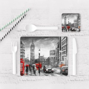 Individuales De Mesa Modernos para Comedor Pintura London 05