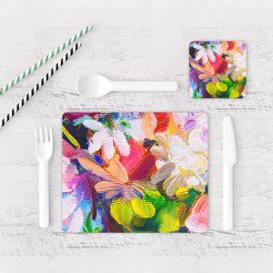 Individuales De Mesa Modernos para Comedor Pintura Flores 48