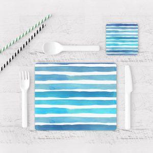 Individuales De Mesa Modernos para Comedor Patrón Azul 13