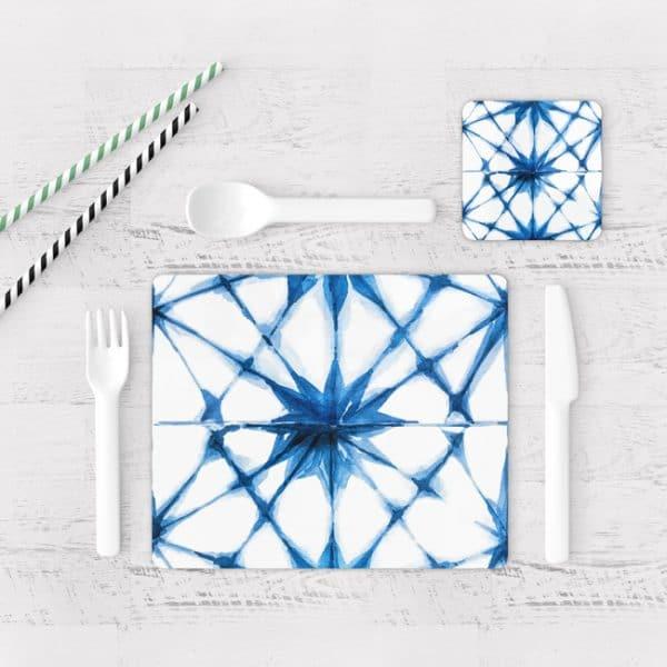 Individuales De Mesa Modernos para Comedor Patrón Azul 19