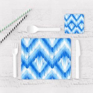 Individuales De Mesa Modernos para Comedor Patrón Azul 21