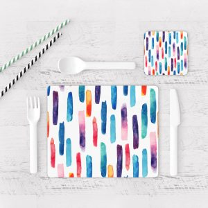 Individuales De Mesa Modernos para Comedor Patrón Rayas Colores