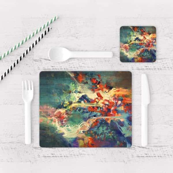 Individuales De Mesa Modernos para Comedor Pintura Abstracta 79