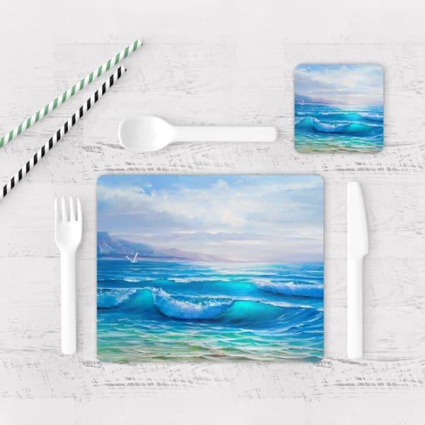 Individuales De Mesa Modernos para Comedor Pintura Mar Y Olas 07