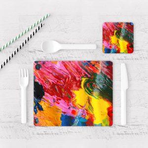 Individuales De Mesa Modernos para Comedor Pintura Pincel 10