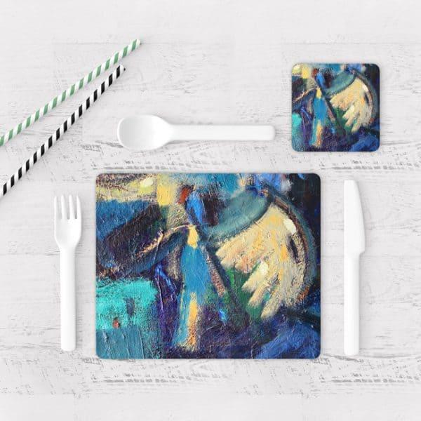 Individuales De Mesa Modernos para Comedor Pintura Abstracta 86