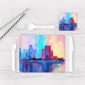 Individuales De Mesa Modernos para Comedor Pintura Ciudad 09