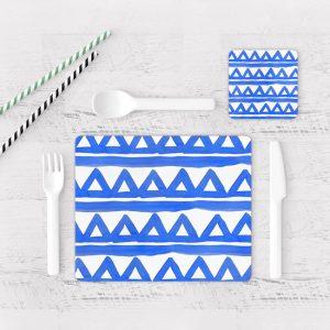 Individuales De Mesa Modernos para Comedor Patrón Azul 16