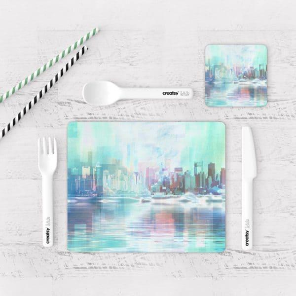 Individuales De Mesa Modernos para Comedor Pintura Ciudad 11