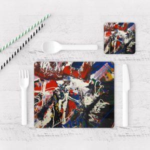 Individuales De Mesa Modernos para Comedor Pintura Abstracta 97