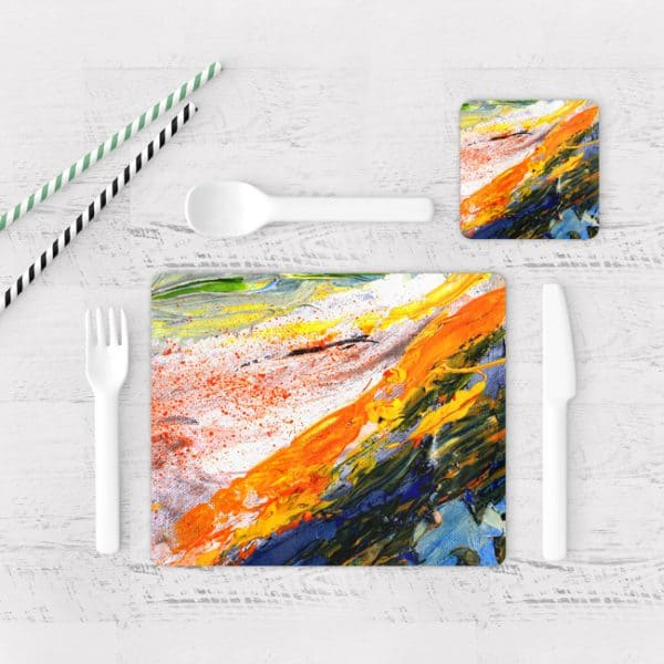Individuales De Mesa Modernos para Comedor Pintura Abstracta 05