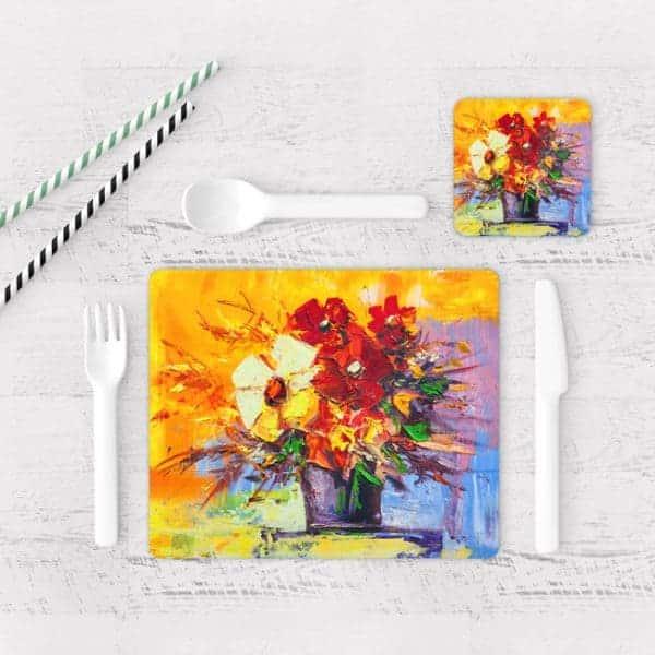 Individuales De Mesa Modernos para Comedor Pintura Flores 45