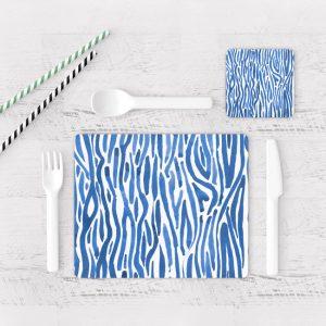 Individuales De Mesa Modernos para Comedor Patrón Azul 12