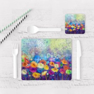 Individuales De Mesa Modernos para Comedor Pintura Flores 66