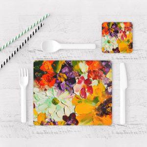 Individuales De Mesa Modernos para Comedor Pintura Flores 49