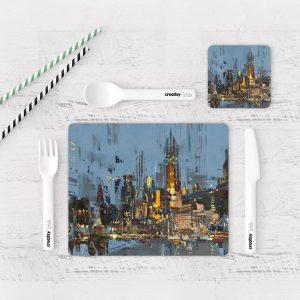 Individuales De Mesa Modernos para Comedor Pintura Ciudad 27