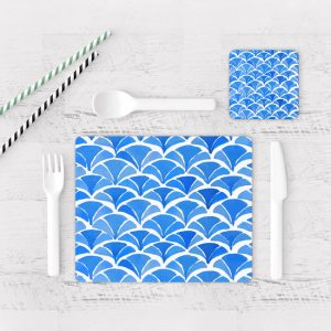 Individuales De Mesa Modernos para Comedor Patrón Azul 06