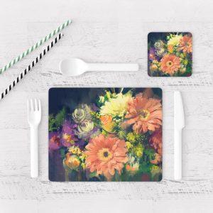 Individuales De Mesa Modernos para Comedor Pintura Flores 53