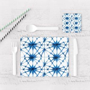 Individuales De Mesa Modernos para Comedor Patrón Azul 18
