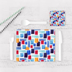 Individuales De Mesa Modernos para Comedor Patrón Rojo Y Azul 03