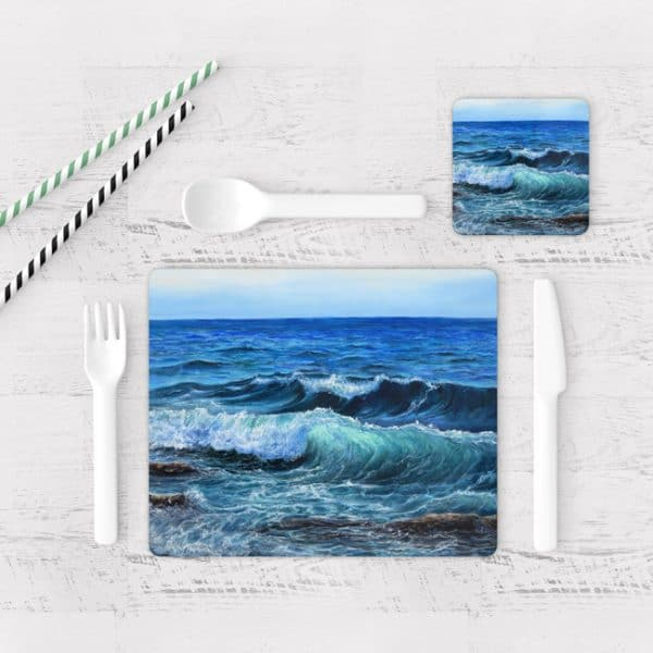 Individuales De Mesa Modernos para Comedor Pintura Mar Y Olas 04