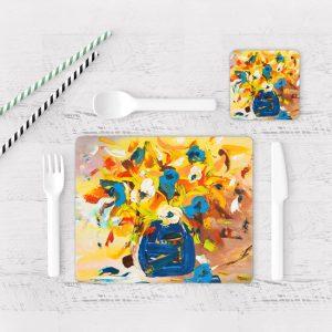 Individuales De Mesa Modernos para Comedor Pintura Flores 43