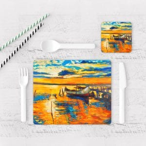 Individuales De Mesa Modernos para Comedor Pintura Barcas 03