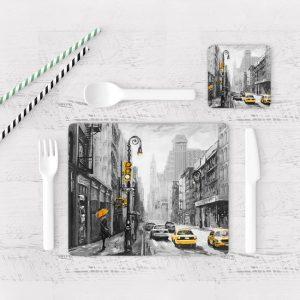 Individuales De Mesa Modernos para Comedor Pintura New York 03
