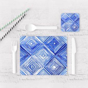 Individuales De Mesa Modernos para Comedor Patrón Azul 14