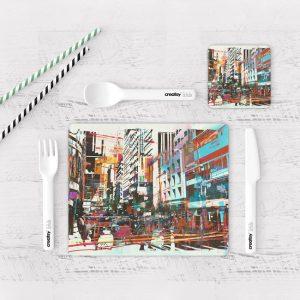 Individuales De Mesa Modernos para Comedor Pintura Ciudad 20