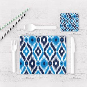 Individuales De Mesa Modernos para Comedor Patrón Azul 04
