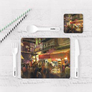 Individuales De Mesa Modernos para Comedor Pintura Ciudad 31