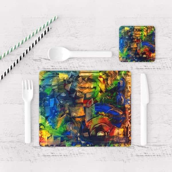Individuales De Mesa Modernos para Comedor Pintura Abstracta 09