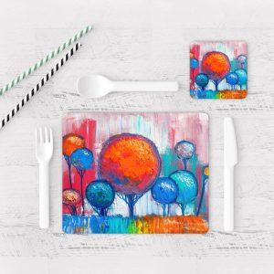 Individuales De Mesa Modernos para Comedor Pintura Arboles 13