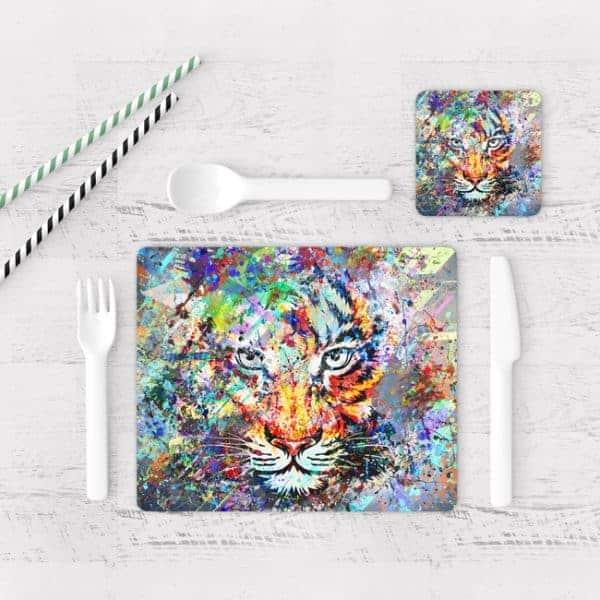 Individuales De Mesa Modernos para Comedor Tigre Colores 04