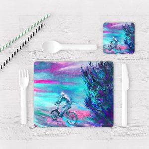 Individuales De Mesa Modernos para Comedor Pintura Bicicleta 32