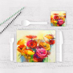 Individuales De Mesa Modernos para Comedor Pintura Flores 69